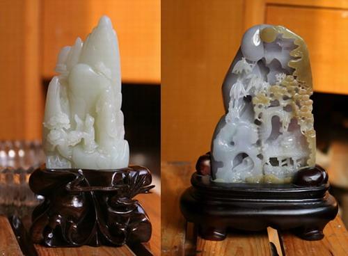 翡翠山子摆件雕刻加工